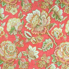 Coral Floral Drapery and Upholstery Fabric by Greenhouse
