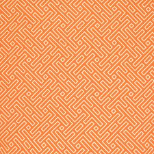 Orange Geometric Drapery and Upholstery Fabric by Greenhouse
