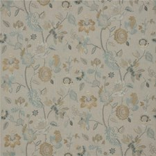 Aqua/Bronze Embroidery Drapery and Upholstery Fabric by G P & J Baker