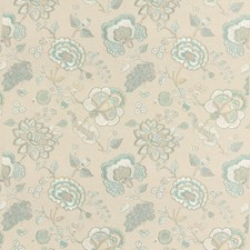 Aqua Botanical Drapery and Upholstery Fabric by G P & J Baker