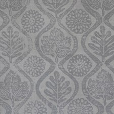 French Grey Botanical Drapery and Upholstery Fabric by Lee Jofa