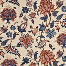 Blue/Red Botanical Drapery and Upholstery Fabric by G P & J Baker
