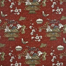 Crimson/Taupe Botanical Drapery and Upholstery Fabric by G P & J Baker