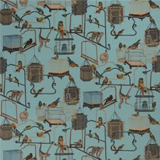 Teal Print Drapery and Upholstery Fabric by G P & J Baker