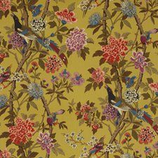 Ochre Botanical Drapery and Upholstery Fabric by G P & J Baker