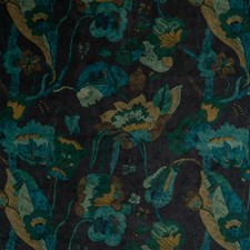 Indigo/Teal Botanical Drapery and Upholstery Fabric by G P & J Baker