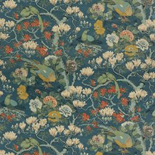 Teal Botanical Drapery and Upholstery Fabric by G P & J Baker