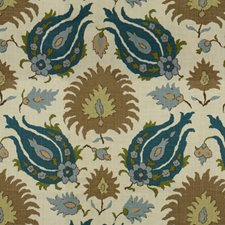 Teal Blue/Taupe Ethnic Drapery and Upholstery Fabric by Brunschwig & Fils