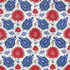 Blue/Red Ethnic Drapery and Upholstery Fabric by Brunschwig & Fils