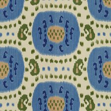 Canton Blue/Green Ikat Drapery and Upholstery Fabric by Brunschwig & Fils