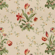 Cream Botanical Drapery and Upholstery Fabric by Brunschwig & Fils