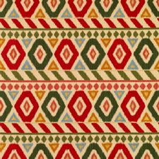 Poppy/Green/Coral Geometric Drapery and Upholstery Fabric by Brunschwig & Fils