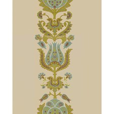 Aqua/Chartreuse Botanical Drapery and Upholstery Fabric by Brunschwig & Fils