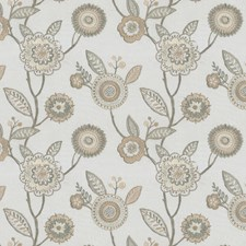 Cream/Beige/Taupe Floral Drapery and Upholstery Fabric by JF