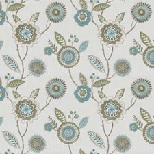 Blue/Teal Floral Drapery and Upholstery Fabric by JF