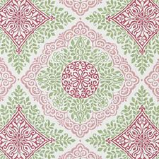 Pink/Green Medallion Drapery and Upholstery Fabric by Duralee