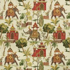 Ivory/Green/Red Animal Drapery and Upholstery Fabric by Kravet