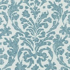 Aqua Damask Drapery and Upholstery Fabric by Duralee