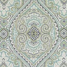 Aquamarine Medallion Drapery and Upholstery Fabric by Duralee
