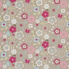 Taupe Floral Small Drapery and Upholstery Fabric by Clarke & Clarke