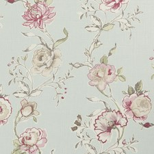 Duckegg Floral Large Drapery and Upholstery Fabric by Clarke & Clarke
