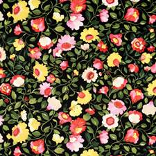 Noir Floral Large Drapery and Upholstery Fabric by Clarke & Clarke