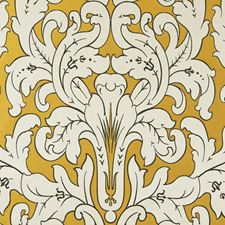 Gold Damask Drapery and Upholstery Fabric by Clarke & Clarke