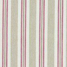 Raspberry/Linen Stripes Drapery and Upholstery Fabric by Clarke & Clarke