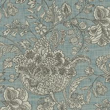 Teal Floral Large Drapery and Upholstery Fabric by Clarke & Clarke