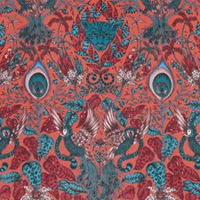 Red Animal Drapery and Upholstery Fabric by Clarke & Clarke