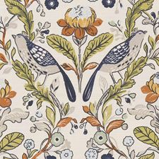 Birds Denim/Spice Drapery and Upholstery Fabric by Clarke & Clarke