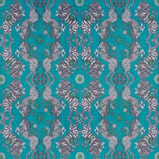 Teal Animal Drapery and Upholstery Fabric by Clarke & Clarke