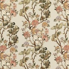 Coral/Green Botanical Drapery and Upholstery Fabric by Mulberry Home