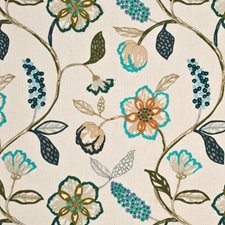Teal/Indigo Embroidery Drapery and Upholstery Fabric by Mulberry Home
