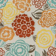 Aqua/Rust Embroidery Drapery and Upholstery Fabric by Groundworks