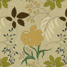 Gold/Green Botanical Drapery and Upholstery Fabric by Groundworks