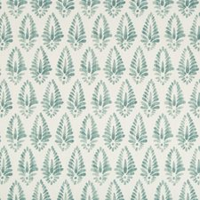 White/Teal Botanical Drapery and Upholstery Fabric by Kravet