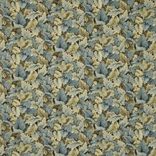 Blue/Brown/Light Blue Botanical Drapery and Upholstery Fabric by Kravet