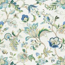 White/Green/Blue Jacobeans Drapery and Upholstery Fabric by Kravet