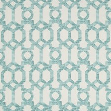White/Turquoise/Spa Lattice Drapery and Upholstery Fabric by Kravet