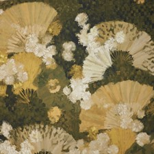 Olive Green/White/Black Botanical Drapery and Upholstery Fabric by Kravet
