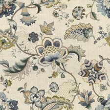 Blue/Green/Beige Jacobeans Drapery and Upholstery Fabric by Kravet