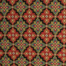 Green/Red Drapery and Upholstery Fabric by RM Coco