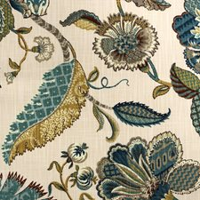 Blue/Brown/Creme Traditional Drapery and Upholstery Fabric by JF