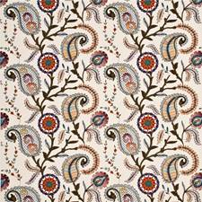 Sienna/Olive/Indigo Embroidery Drapery and Upholstery Fabric by Baker Lifestyle