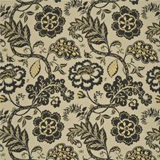 Charcoal/Gold Botanical Drapery and Upholstery Fabric by Baker Lifestyle