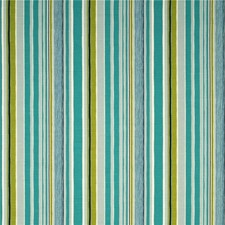 Turquoise/Lime Stripes Drapery and Upholstery Fabric by Baker Lifestyle