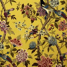 Mustard/Mauve Botanical Drapery and Upholstery Fabric by G P & J Baker