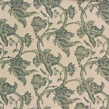 Aqua/Stone Botanical Drapery and Upholstery Fabric by G P & J Baker