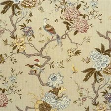 Olive/Stone Botanical Drapery and Upholstery Fabric by G P & J Baker